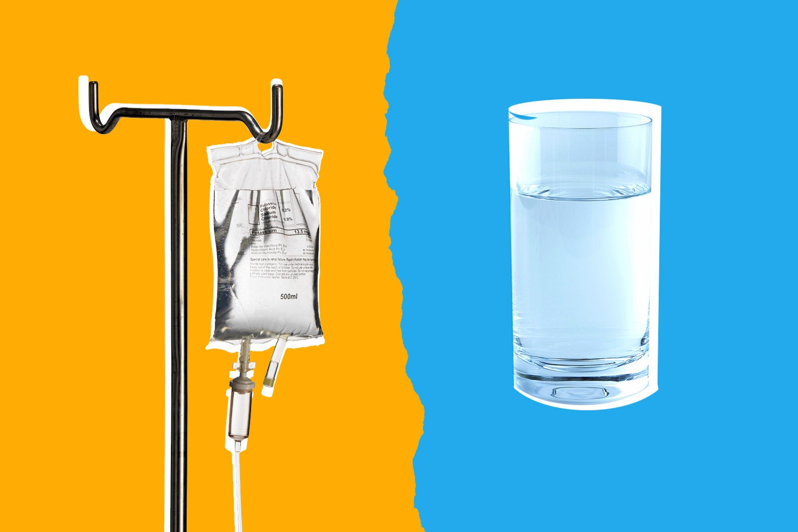 Photo illustration: An IV bag and a glass of water. Photo illustration by Slate. Photos by Thinkstock.