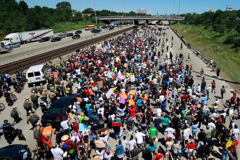 Protestors shut down the Dan Ryan Expressway during a protest calling for common sense gun laws in Chicago.