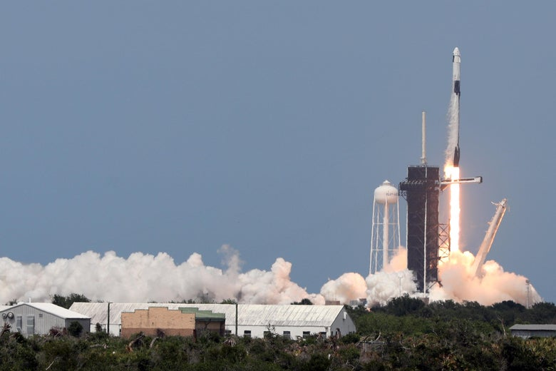 A SpaceX Falcon 9 rocket carrying the Crew Dragon spacecraft lifts off from launch complex 39A at the Kennedy Space Center in Florida on May 30, 2020.