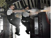 Simon Pegg and Nick Frost shoot it out in Hot Fuzz