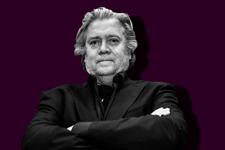 Photo illustration of Steve Bannon as seen on March 25 in Rome.
