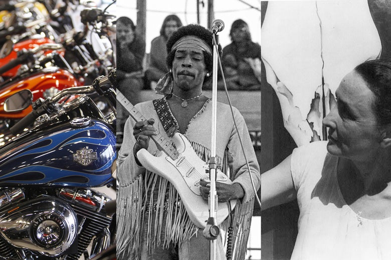 Harley-Davidson motorcycles lineup, Jimi Hendrix plays Woodstock and Georgia O'Keeffe stands in front of one of her skull paintings.