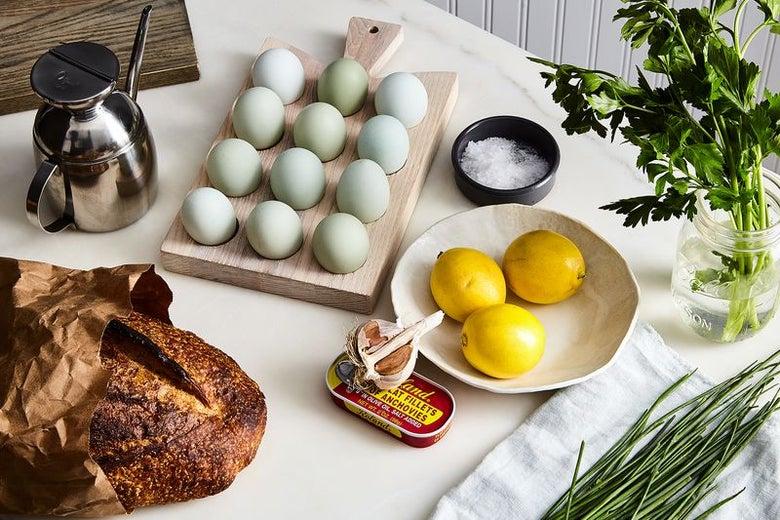 Eggs, lemons, bread, and salt.