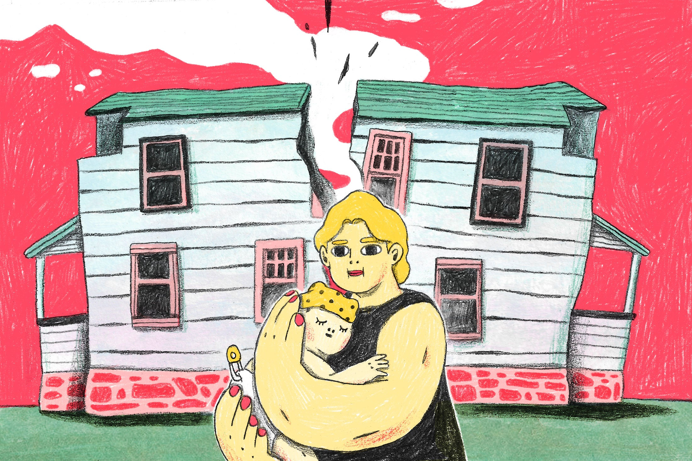 Woman holding a baby in front of a house that has split in half.