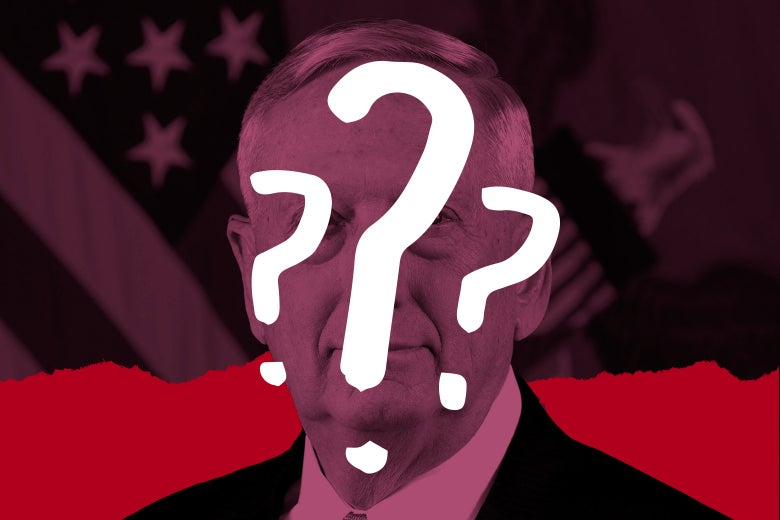 James Mattis with question marks over his face.