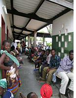 Patients line up for care outside general admissions at the district hospital in Nhamatanda. Click image to expand.