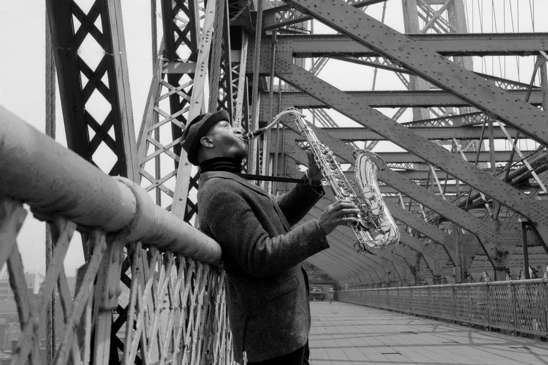 Sonny Rollins plays his saxophone on the Williamsburg Bridge, June 19, 1966.
