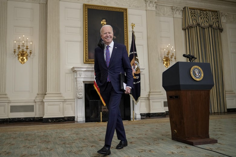 WASHINGTON, DC - APRIL 2: U.S. President Joe Biden departs after speaking about the March jobs report in the State Dining Room of the White House on April 2, 2021 in Washington, DC. According to the U.S. Labor Department, employers added over 900,000 jobs in March, up from 416,000 in February. (Photo by Drew Angerer/Getty Images)