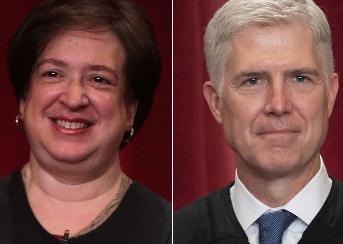 (L) Supreme Court Associate Justice Elena Kagan and (R) US Supreme Court Associate Justice Neil Gorsuch