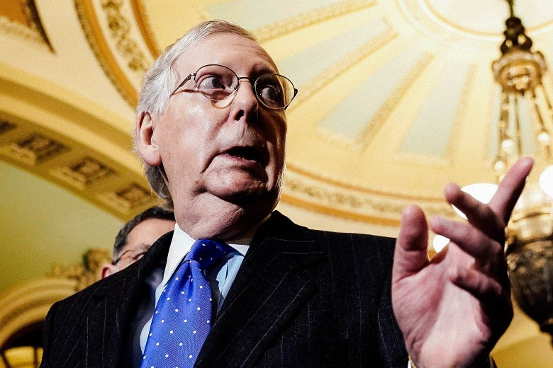 Low-angle shot of Mitch McConnell speaking.