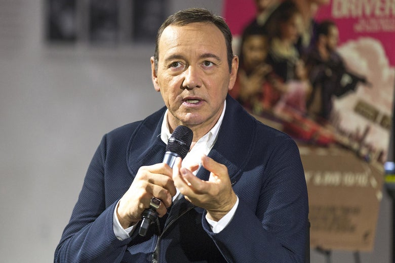 Kevin Spacey talks on stage at the Petersen Automotive Museum on October 4, 2017 in Los Angeles, California.