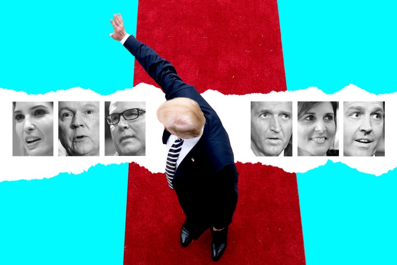 Donald Trump waves from a red carpet, with photos collaged in of Ivanka Trump, Jeff Sessions, and Scott Pruitt on one side, and Jeff Flake, Nikki Haley, and Ben Sasse on the other side.