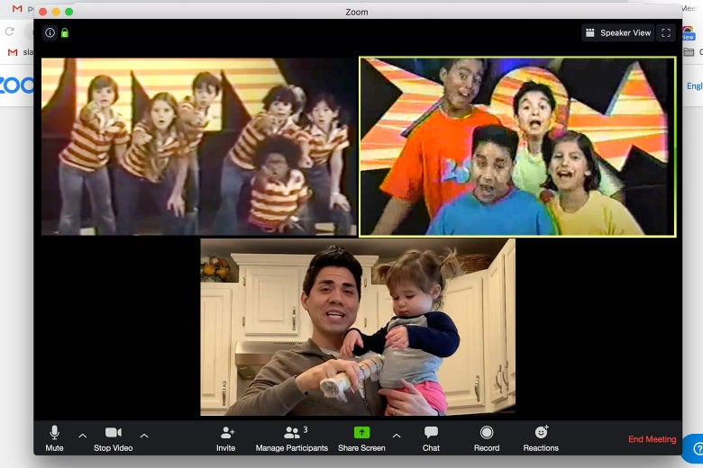 A mock screenshot of a Zoom videoconference among Zoomers from the 1970s, 1990s, and today.