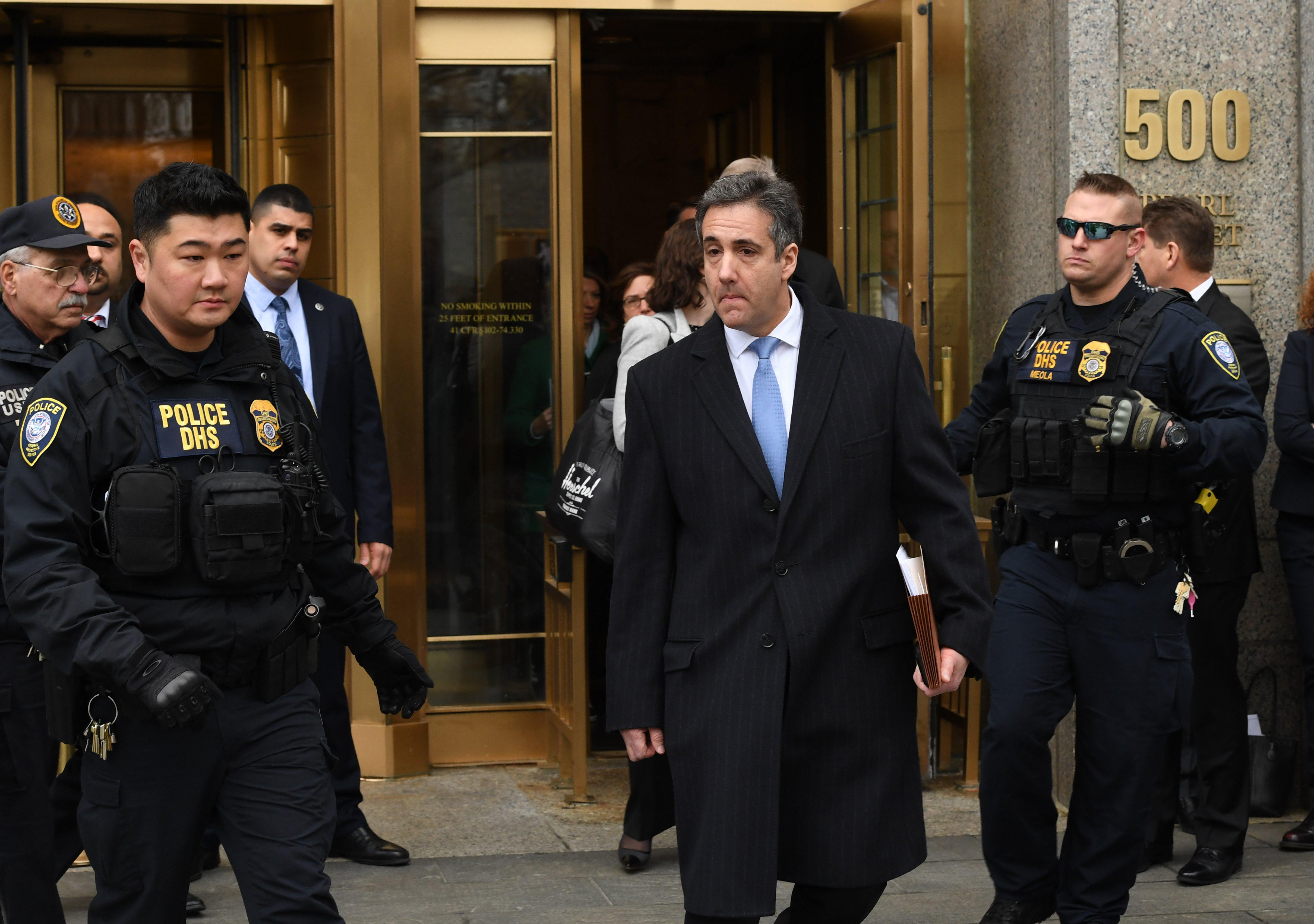 Michael Cohen leaves U.S. Federal Court in New York on December 12, 2018.