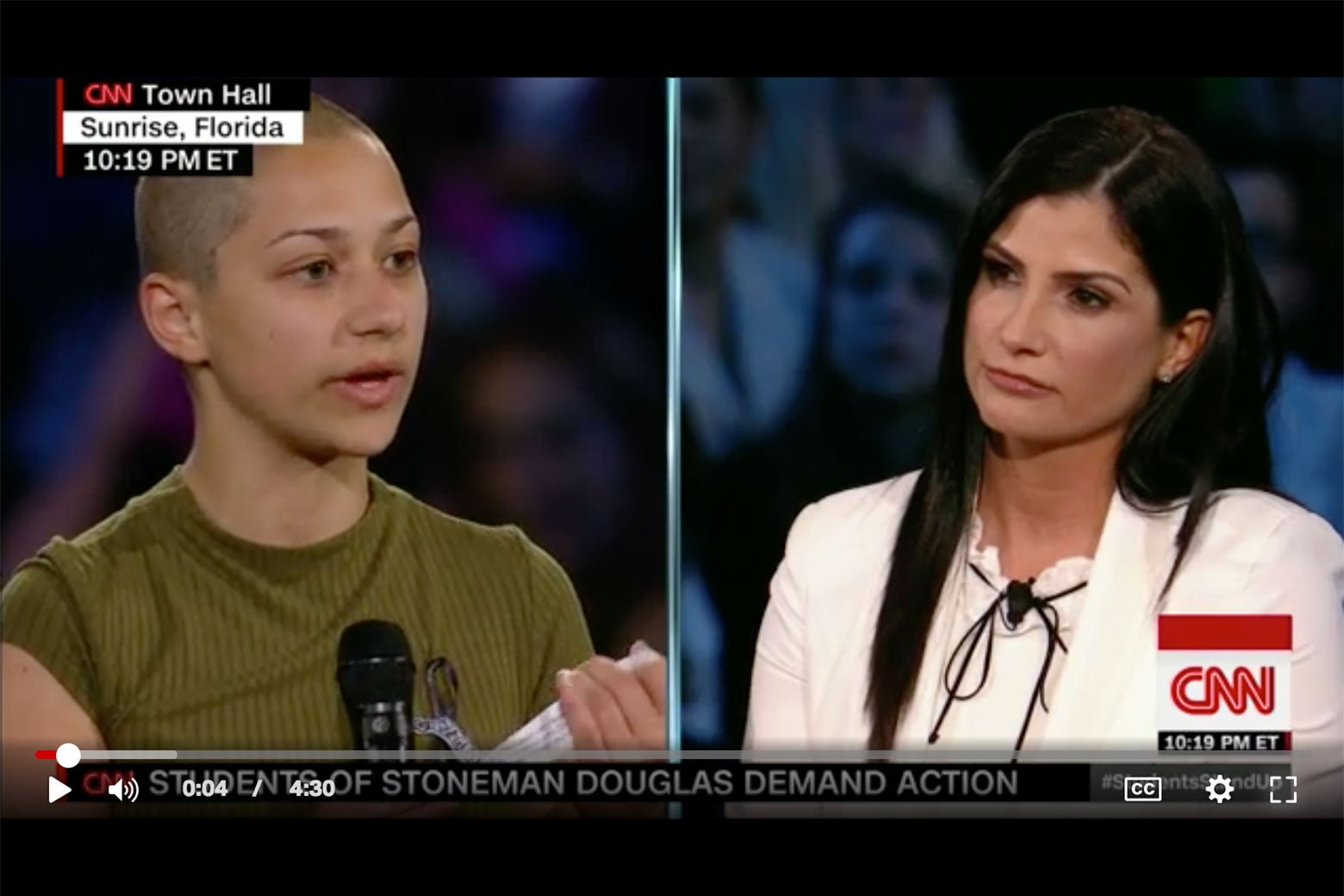 Marjorie Stoneman Douglas student Emma Gonzalez and NRA spokeswoman Dana Loesch at CNN's Wednesday town hall.
