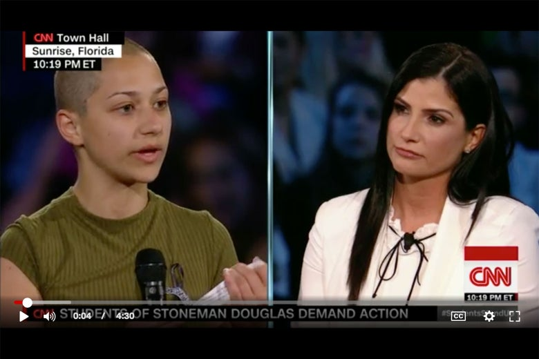 Marjorie Stoneman Douglas student Emma Gonzalez and NRA spokeswoman Dana Loesch at CNN's Wednesday town hall.