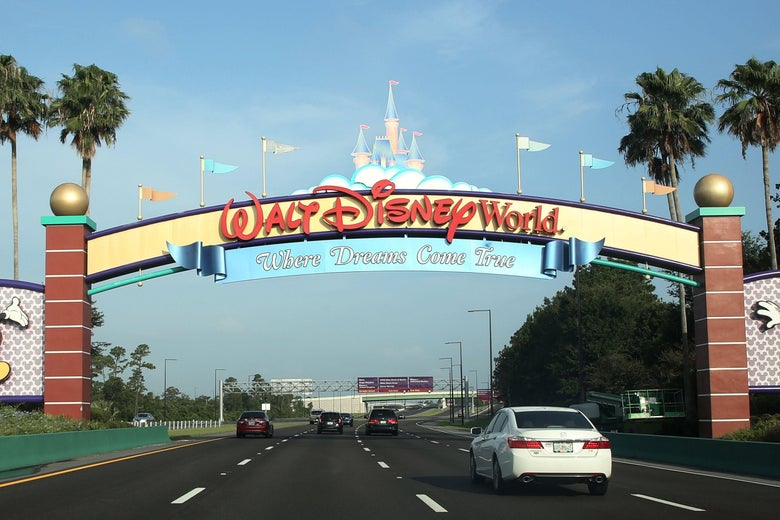 """A sign that says """"Walt Disney World: Where Dreams Come True"""" above a four-lane highway with palm trees and a clear blue sky in the background"""