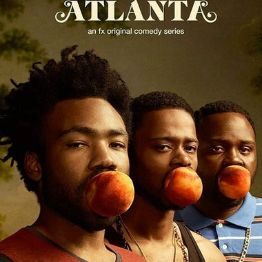 Title card for Atlanta, featuring the major characters with peaches in their mouths.