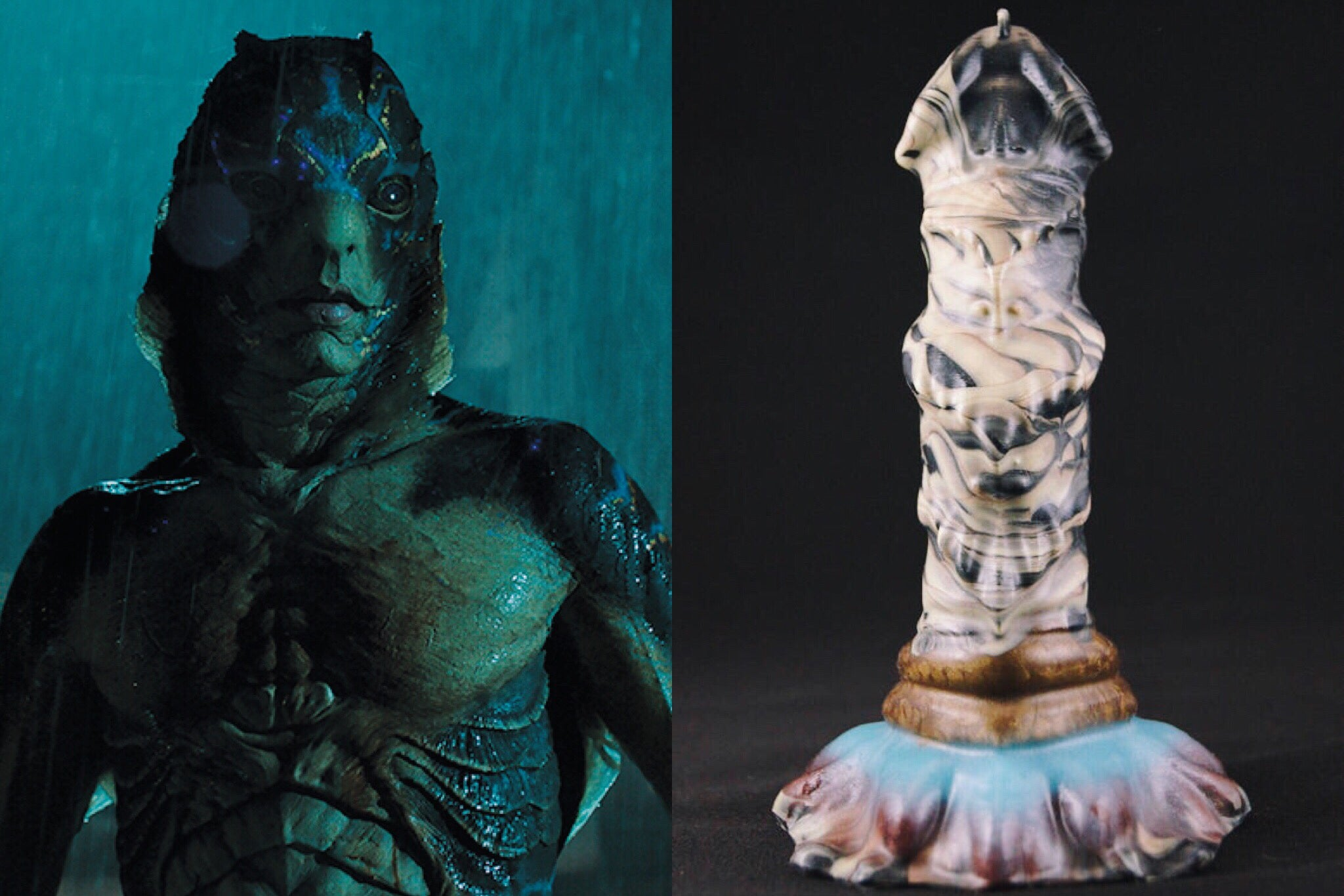 Doug Jones in The Shape of Water, and a sex toy that looks like him.