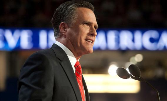 Mitt Romney speaks on Thursday at the 2012 Republican National Convention in Tampa, Fla.