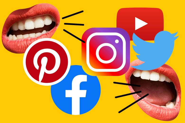 Icons for Pinterest, Twitter, Facebook, Instagram, and YouTube with talking mouths.