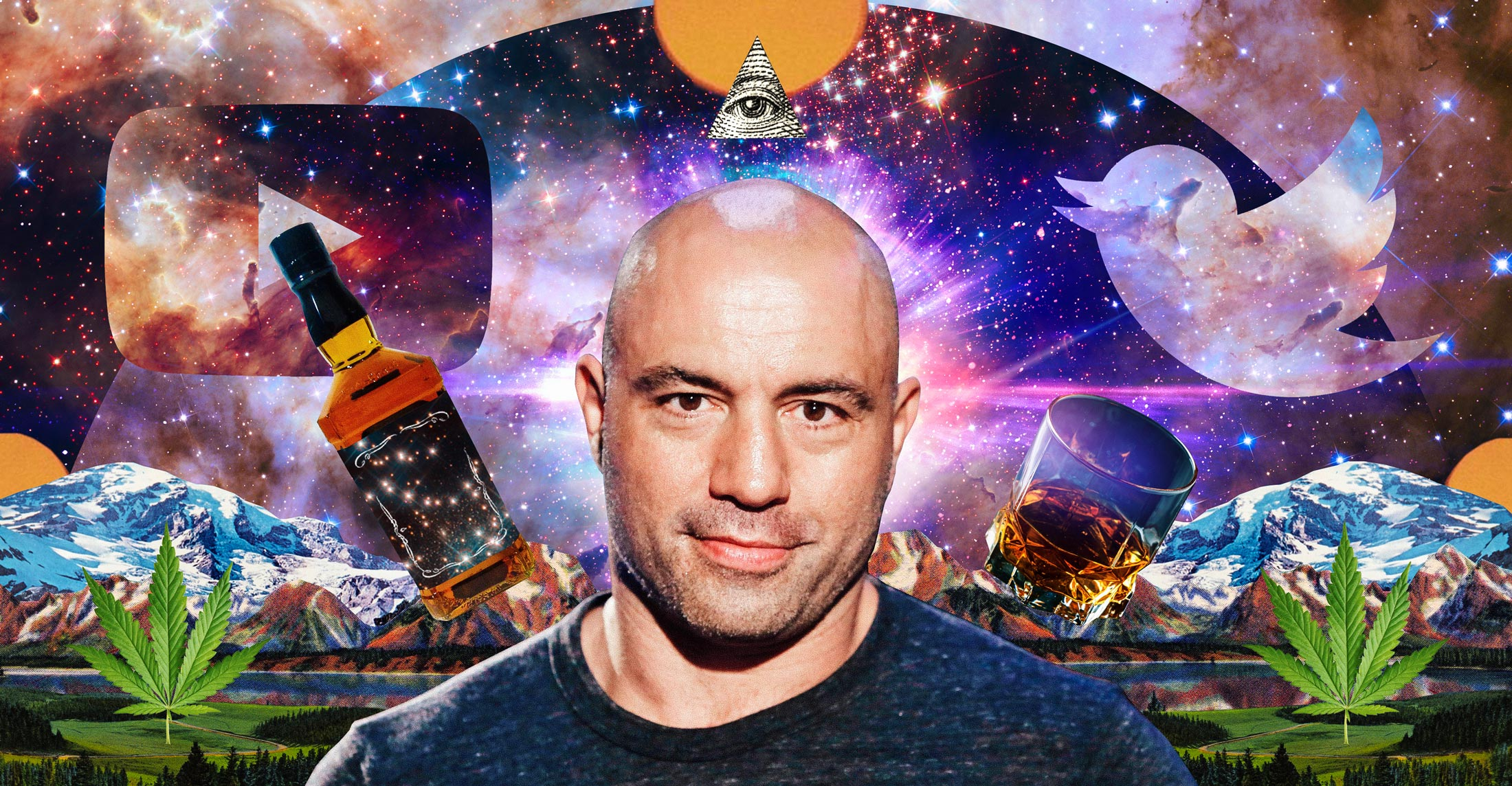 db02ed900 Joe Rogan in a spectacular fantasy galaxy landscape, flanked by celestial  whiskey and massive pot