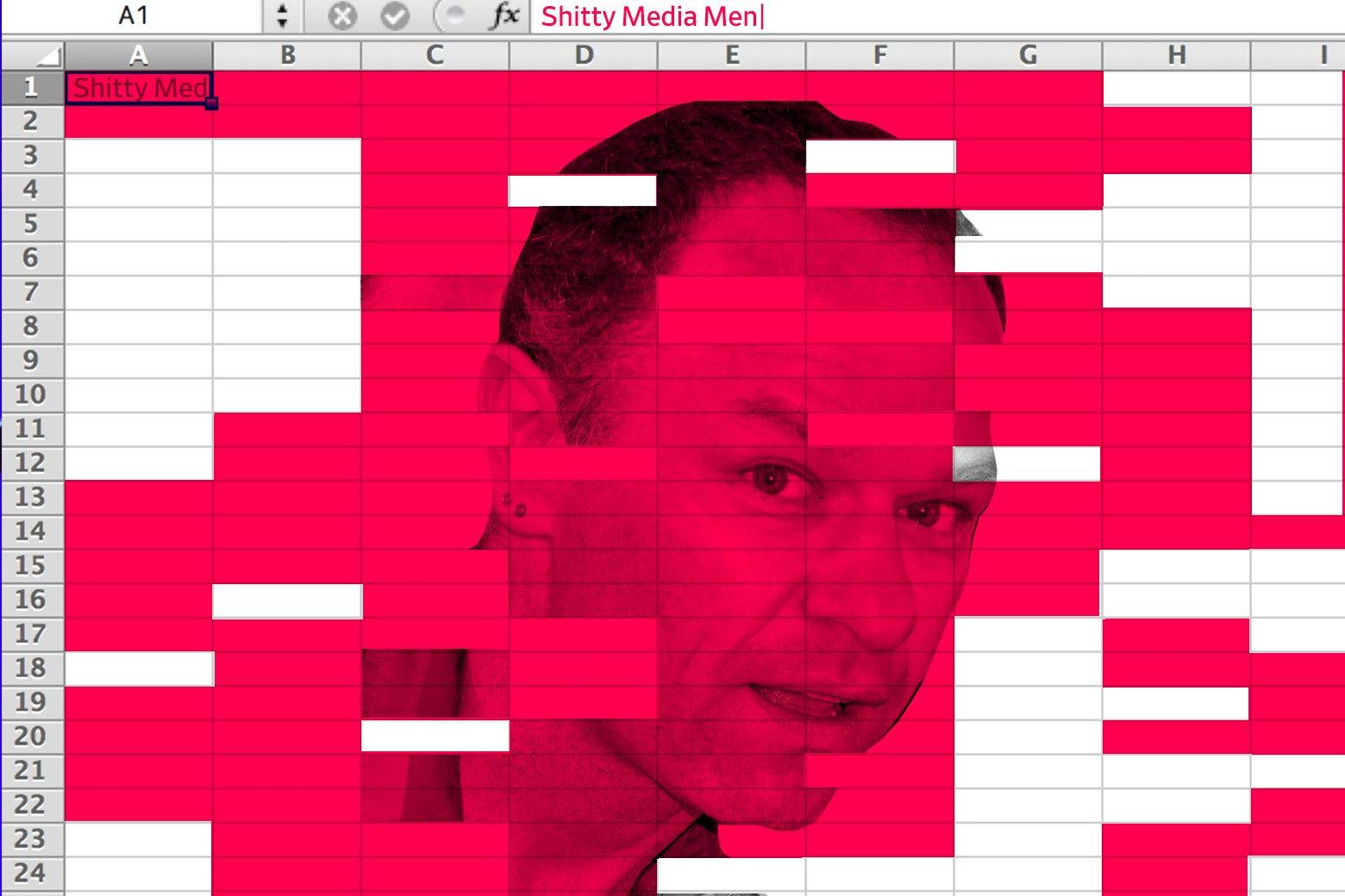 Stephen Elliott's face on a spreadsheet.
