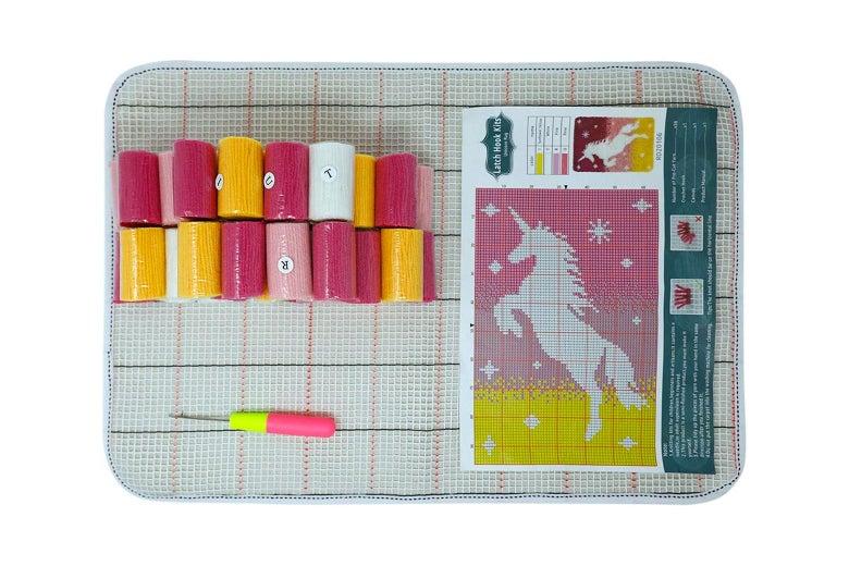 A unicorn latch hook kit.