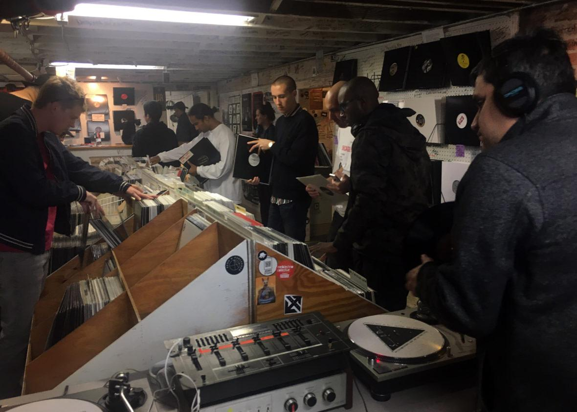 """Techno fans visit the """"Somewhere in Detroit"""" record store, located in the basement of Submerge, a Motor City techno label and DJ collective."""