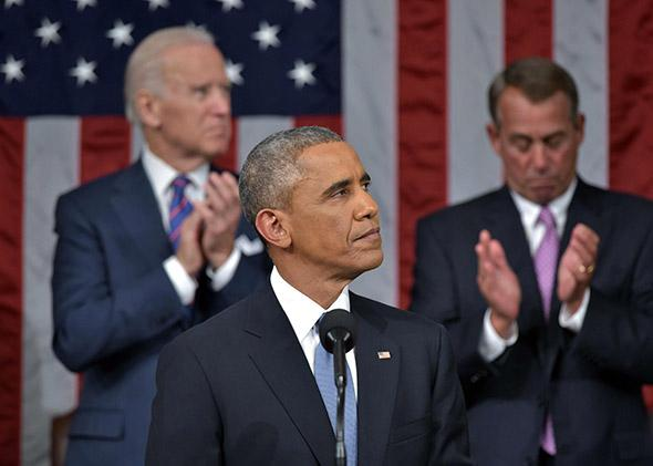 President Obama arrives for the State of the Union address.