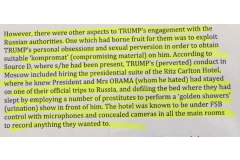 Selection from the Steele dossier about the alleged pee tape, with highlighted emphasis by Slate.