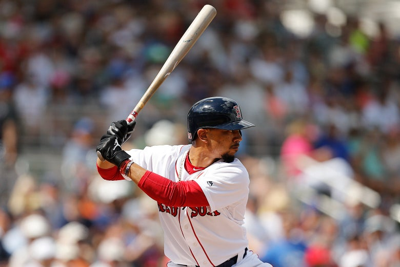 Mookie Betts of the Boston Red Sox waits at bat against the New York Mets on March 9 in Fort Myers, Florida.