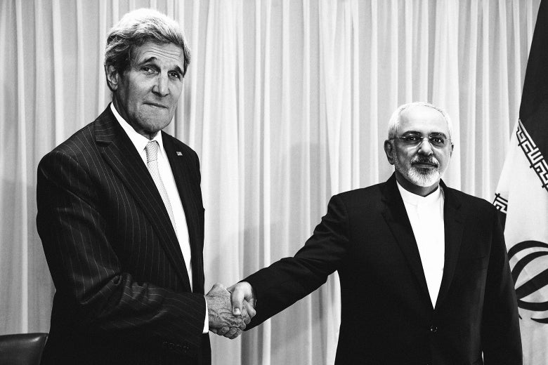 Iranian Foreign Minister Mohammad Javad Zarif shakes hands with U.S. Secretary of State John Kerry in Geneva on Jan. 14, 2015.