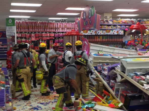 Party City candy aisle collapse in Boca Raton.