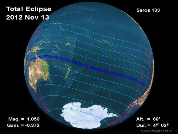 Path of November 13, 2012 total solar eclipse