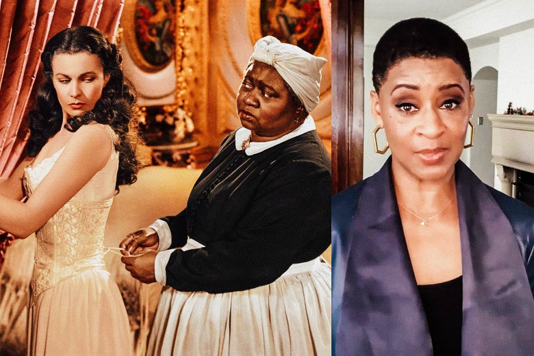 Side-by-side stills of Vivien Leigh and Hattie McDaniel in Gone With the Wind beside scholar Jacqueline Stewart introducing the film.