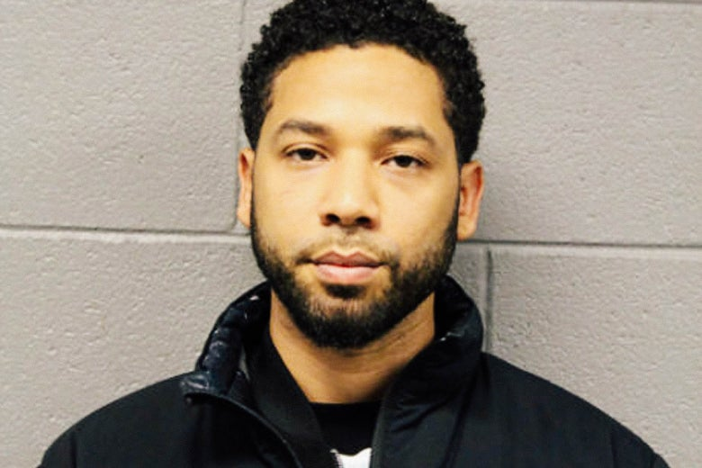 Booking photo of Jussie Smollett