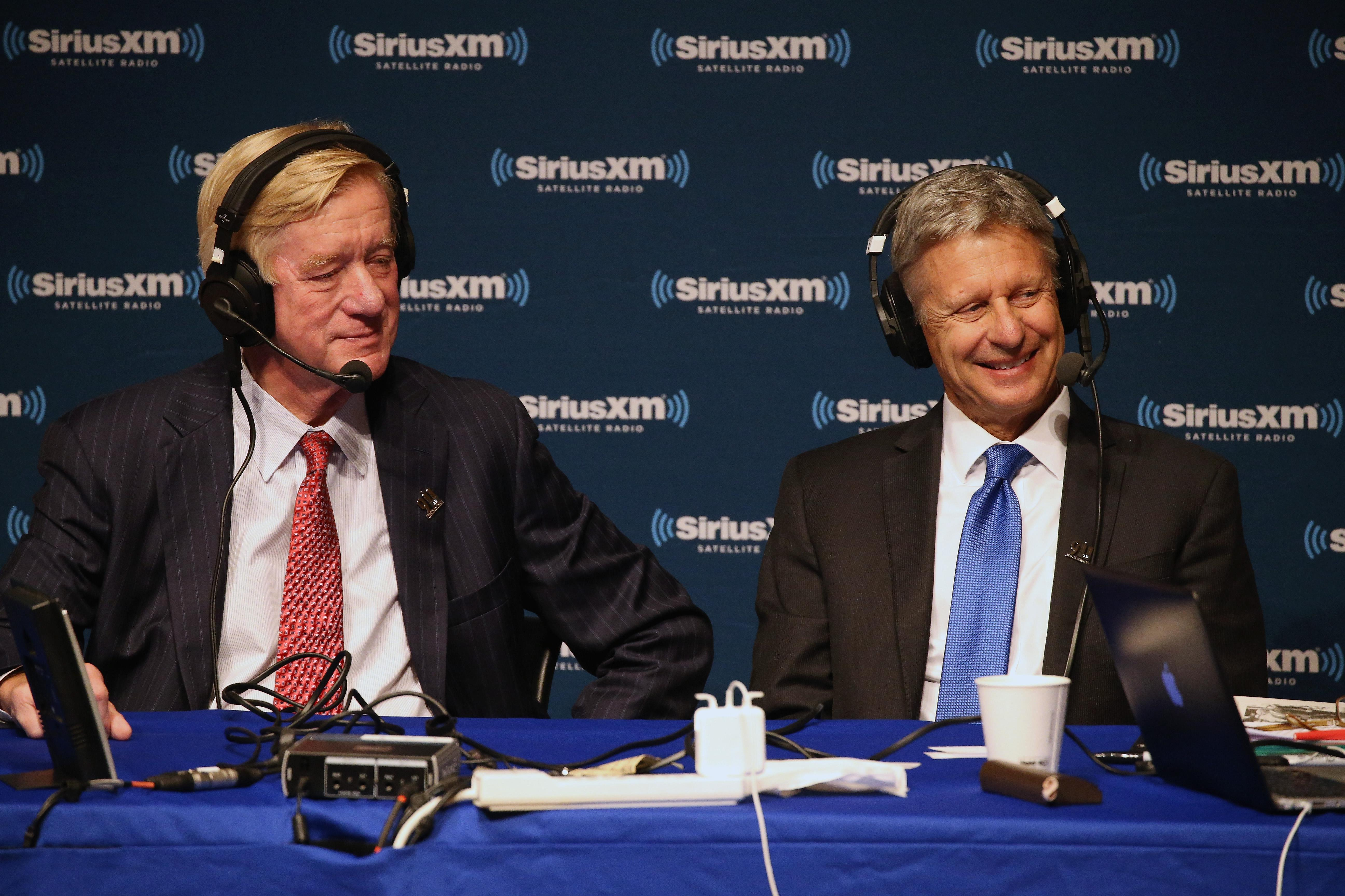 Bill Weld conducts an interview with SiriusXM in 2016.
