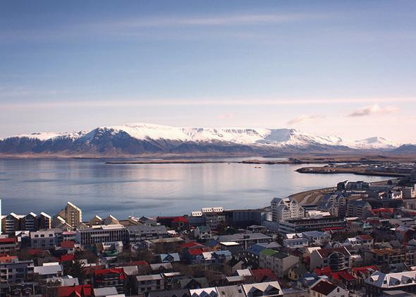 Reykjavik from Hallgrímskirkj church tower, April 2013.