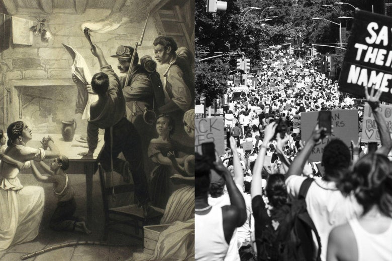 Diptych of a white Union soldier reading the Emancipation Proclamation to Black people and a black-and-white photo of a 2020 march against racism and police brutality