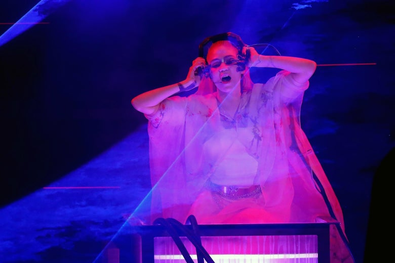 Grimes performs onstage during The Game Awards 2019 at Microsoft Theater on Dec. 12, 2019 in Los Angeles, California. (Photo by JC Olivera/Getty Images)