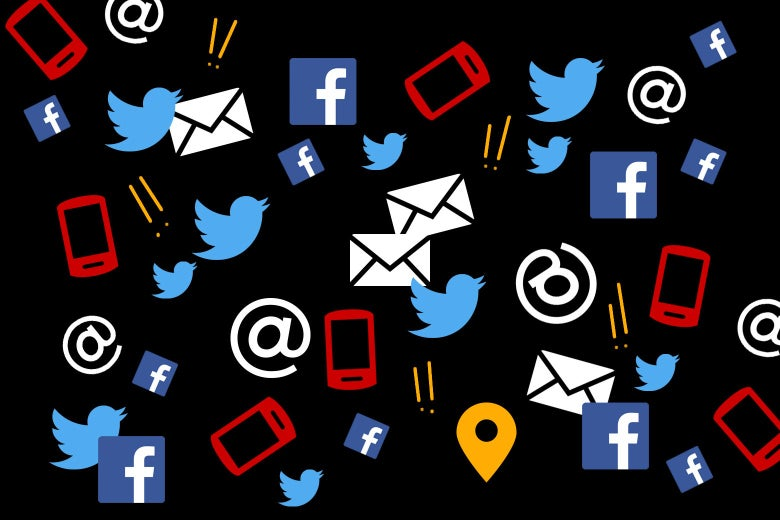 A collage of Facebook logos, Twitter birds, email icons, smartphone symbols, @ signs, location symbols, and exclamation points.