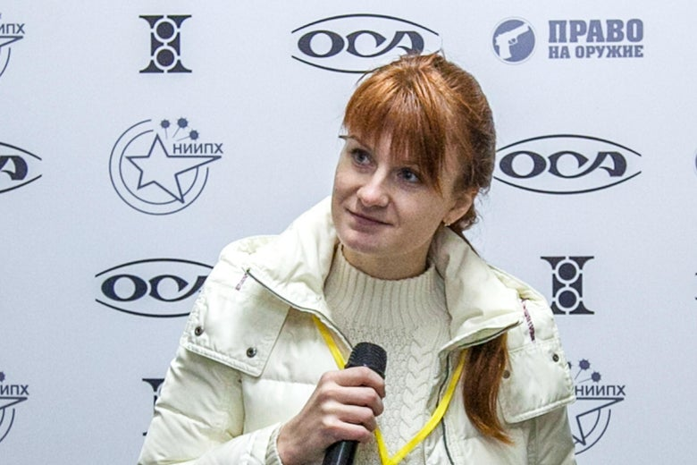 Mariia Butina during a press conference in Moscow in 2013.