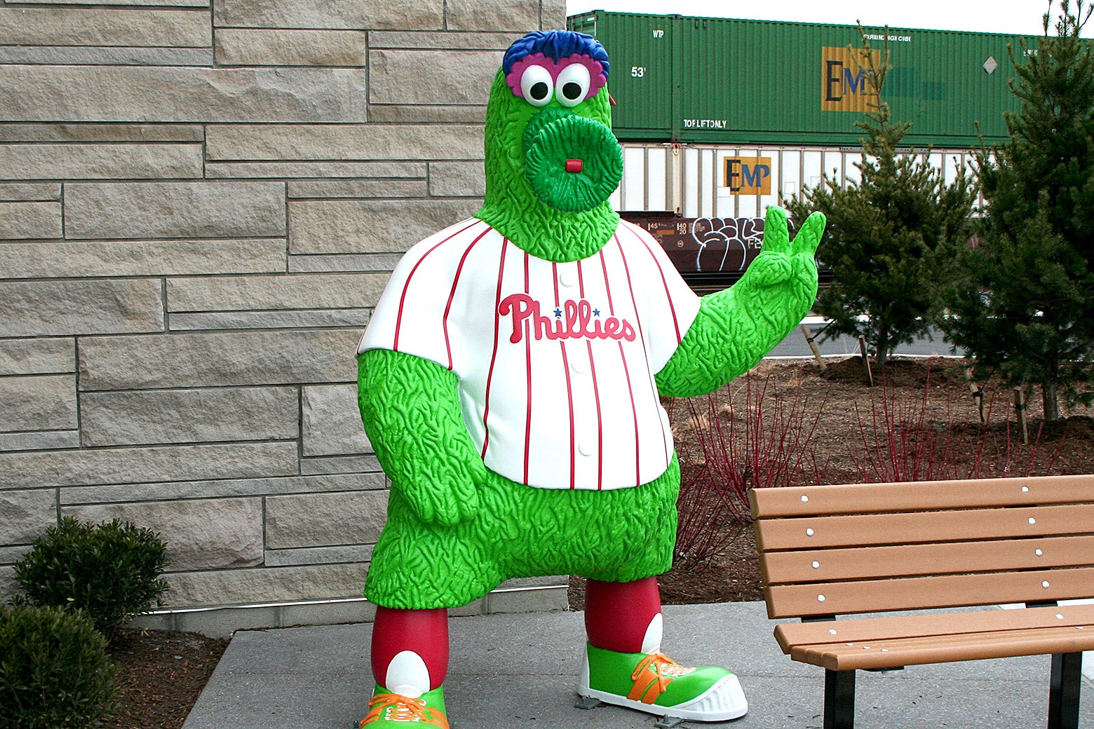 A statue of the Philly Phanatic.