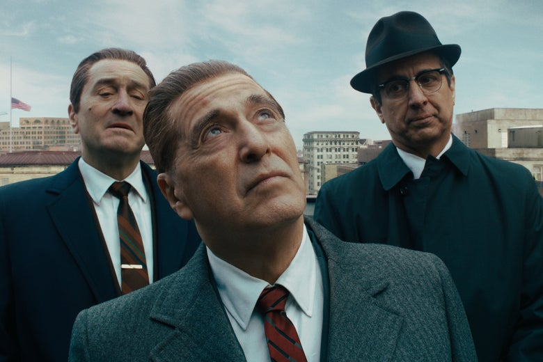 Robert De Niro, Al Pacino, and Ray Romano in The Irishman.