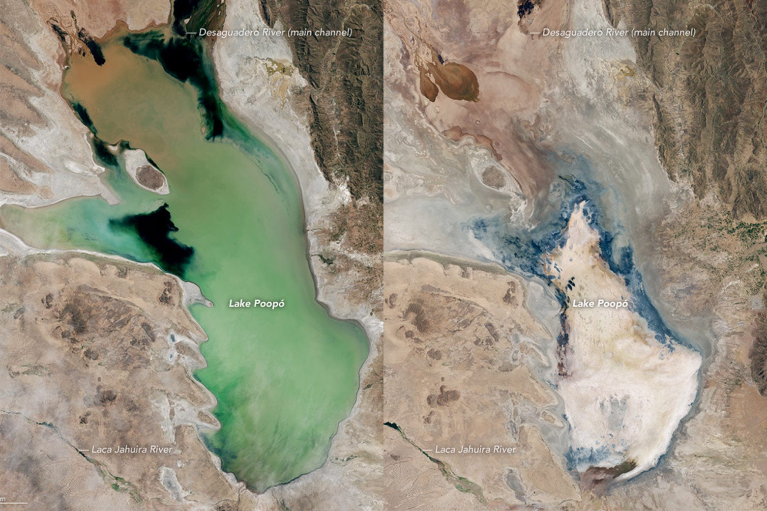 NASA. Lake Poopó—once Bolivia's second-largest lake and an important fishing resource for local communities—has essentially dried up