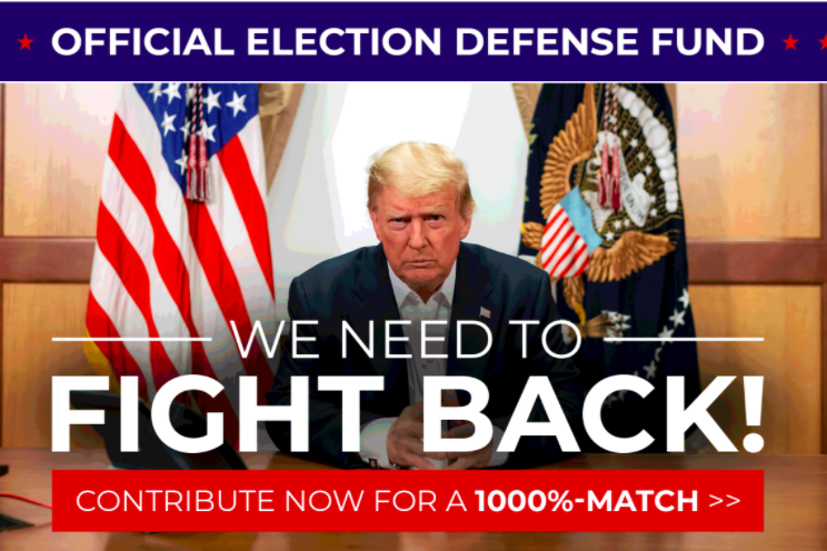 "A ""official election defense fund"" webpage shows Trump seated before an American flag with the text ""We Need to Fight Back!"""