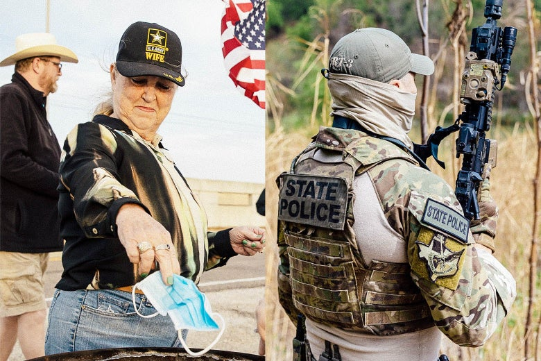 Left: Woman throwing away a mask. Right: State trooper with a gun