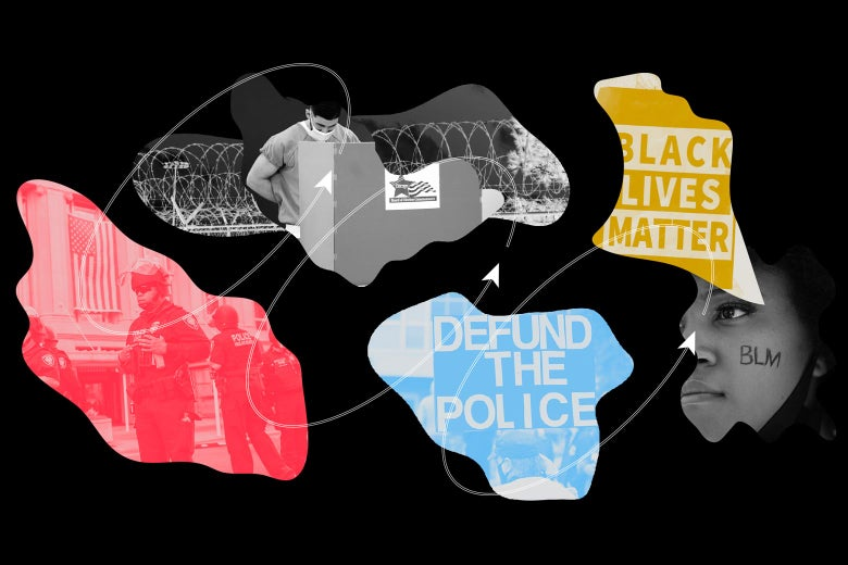 """Different shapes showing Black Lives Matter and Defund the Police signs, along with police officers, a prisoner with a face mask looking down at a desk, and a person with """"BLM"""" written on their chin."""