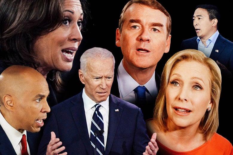Kamala Harris, Cory Booker, Joe Biden, Michael Bennet, Kirsten Gillibrand, and Andrew Yang.